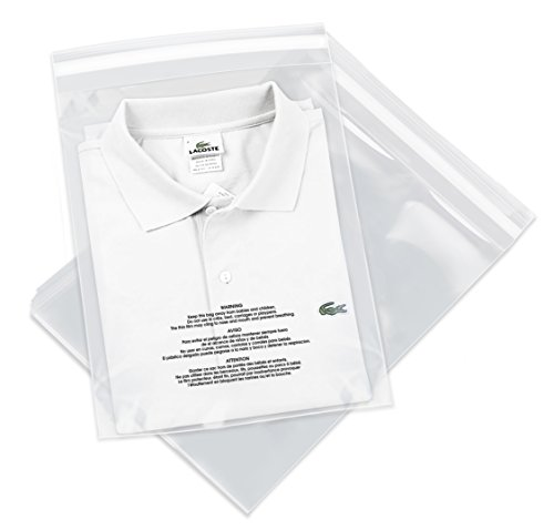 """Spartan Industrial - 10"""" X 13"""" (1000 Count) Self Seal Clear Poly Bags with Suffocation Warning for Packaging, T Shirts & FBA - Permanent Adhesive"""