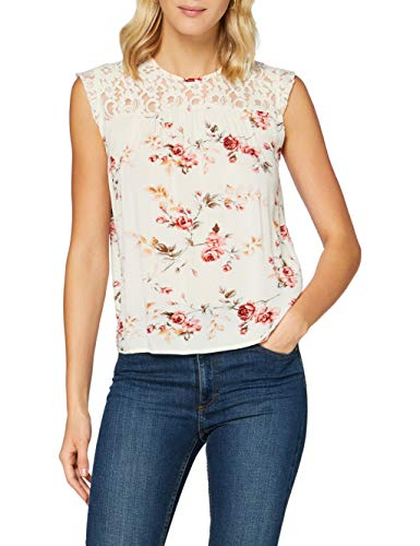 ONLY Womens ONLKARMEN S/L TOP AOP WVN NOOS Blouse, AOP:Rose Flower Creme Brûlée, 40