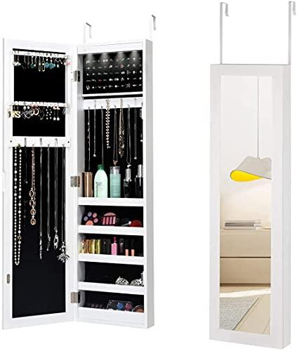 RELAX4LIFE Schmuckschrank mit 12 LED-Licht & Halterung, Spiegelschrank hängend, Hängeschrank mit Spiegel, Schmuckregal Landhausstil, Aufbewahrung für Halsketten & Ringe, Schlafzimmer & Garderobe, weiß