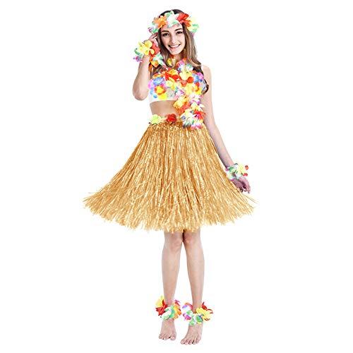 Twister.CK Falda de Hierba Hula con Conjunto de Disfraces de Flores Leis, Luau Grass y Pulseras de Flores Hawaianas, Diadema, Collar para Recuerdos de Fiesta