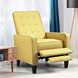 Kealive Recliner Chair with Overstuffed Back Push Back Reclining Chair Thickness Cushion and Fabric Comfortable Single Recliner Mid Century Modern Sofa Chair for Home, Living Room, Mustard Yellow