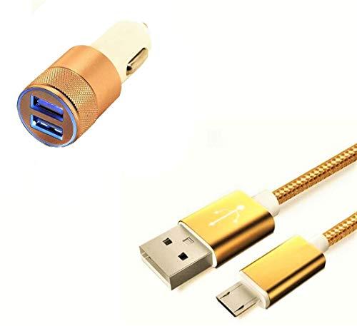 Pack Cargador de Coche para Xiaomi Redmi Go Smartphone Micro USB (Cable de Metal Nailon + Doble Adaptador de Encendedor de Cigarrillo) (Dorado)