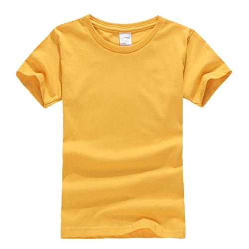 DREAMING-Camiseta De Manga Corta De Algodón Peinado para Niños Camiseta De Cuello Redondo Juvenil Ropa para Niños 24C Gold 150CM
