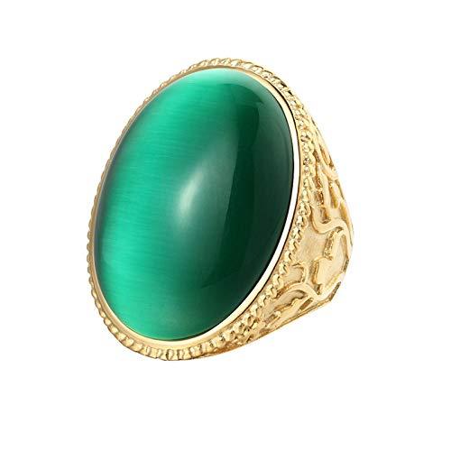 AYDOME Anillo de Acero Inoxidable Anillos para Hombre Anillos Oro Compromiso Piedra de Ópalo Verde Rojo Oval