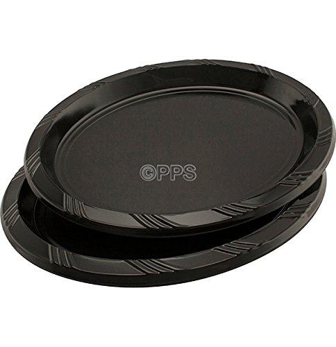 6 bandejas ovaladas de plástico negro, 30 cm x 23 cm.