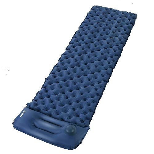 GRM Esterilla Acampada Camping, Esterilla Inflable Colchoneta Almohada, Ultraligera Impermeable Colchonetas Hinchables para Carpa/Saco de Dormir/Camping (Azul)