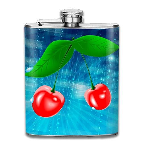 Cherry Fruit Funny Logo 304 Stainless Steel Pocket Hip Flask Outdoor Portable Pattern Flagon Water Flasks 70Z