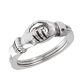 Hands Holding Heart Promise Ring Set New .925 Sterling Silver Band Size 9