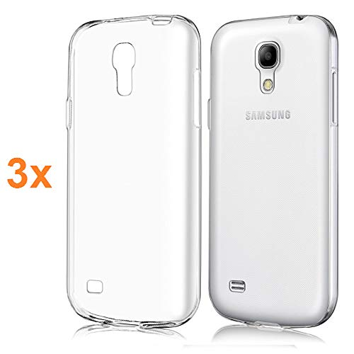 REY Pack 3X Cover in Gel TPU Trasparente per Samsung Galaxy S4, Ultra Sottile 0,33 mm, Morbido Flessibile, Custodia Silicone