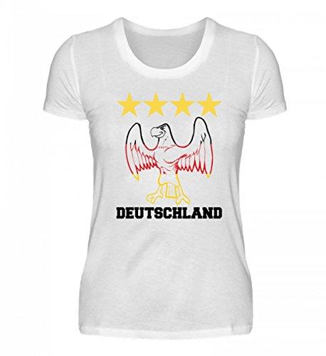 PlimPlom Hochwertiges Damenshirt - Deutschland Fußball Fan Trikot mit Adler und 4 Sternen Geschenkidee Für Public Viewing
