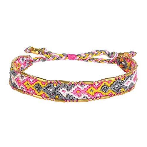 KELITCH Candy Colour Silk Wrap Bracelets Wide Boho Style Hand Woven Friendship Bracelet Cuff Bangles