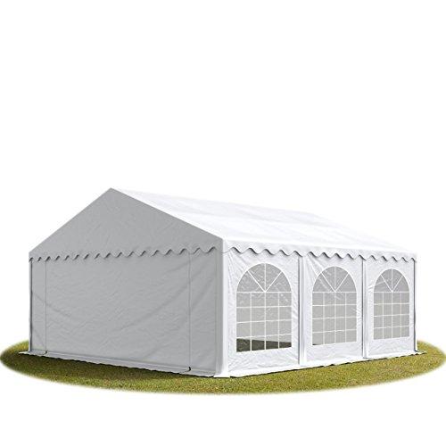 TOOLPORT Festzelt Partyzelt 5x6 m Premium, hochwertige ca. 500g/m² PVC Plane in weiß 100% wasserdicht mit Bodenrahmen