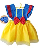 Princess Dress Up Clothes for Little Girls, Toddler Kids Snow White Sofia The First Minnie Mouse Costume Party Birthday Tulle Skirt Tutu Apron Dress(601,BlueYellow,90)