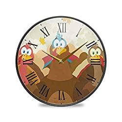 SLHFPX Wall Clock Silent Non Ticking Cartoon Turkeys Clocks Battery Operated Vintage Quartz Analog Noiseless Round Decor Wall Clock for Kitchen Bedroom Living Room Dorm