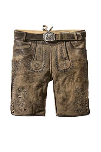 Stockerpoint - Herren Lederhose mit Gürtel, Thomas, Größe:52, Farbe:Stein geäscht
