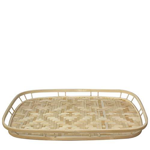 Bandejas de mimbre de bambú con asas, bandejas de café tejidas a mano para café, desayuno, pan, alimentos, platos y bandejas decorativas para mesa de comedor