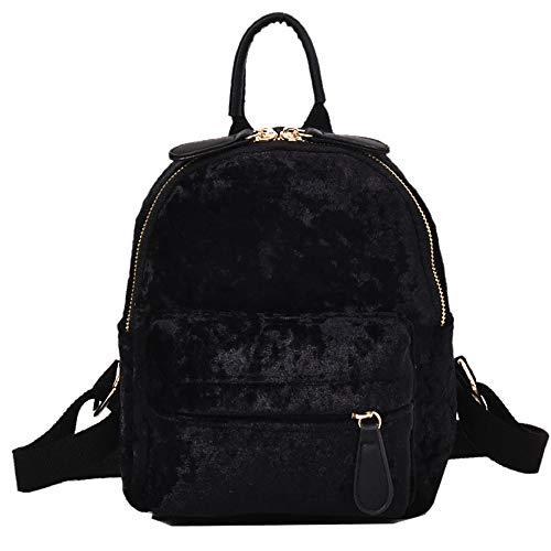 Ansenesna Kleine Rucksäcke Für Mädchen Teenager Samt Elegant Taschen Outdoor Reise Trekking Vintage Freizeit Backpack (Schwarz)