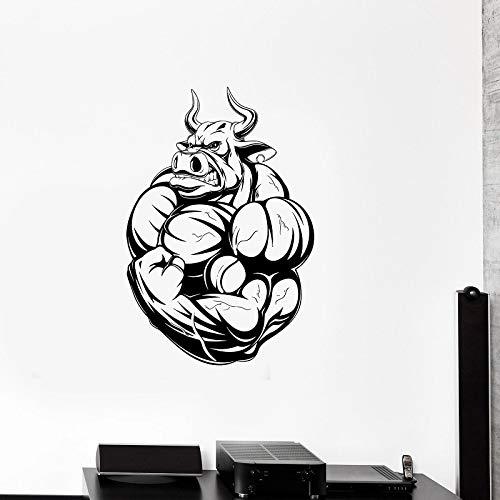 Bull Power Vinyl Wandtattoo Fitnessstudio Fitness Club Fitness Liebhaber Teen Muscle Gym Dekorative Aufkleber Wallpaper 57x81cm