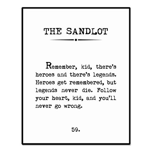 Legends Never Die, Book Page Sign, The Sandlot Quote, Kids Room Wall Decor, Playroom Decor, Baseball Wall Decor, Move Quotes, 8 x 10 Inches Unframed