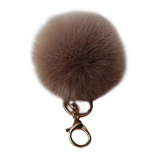 Shining Crown Pom Pom Keychain Fluffy Fur Ball Keyring Pendant Accessory Charm for Women Handbag with Giftbox,Light Coffee