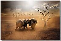 壁アート写真北欧アフリカ砂漠象野生動物キャンバスアート絵画壁アート写真リビングルームの家の装飾70x90cmフレームなし