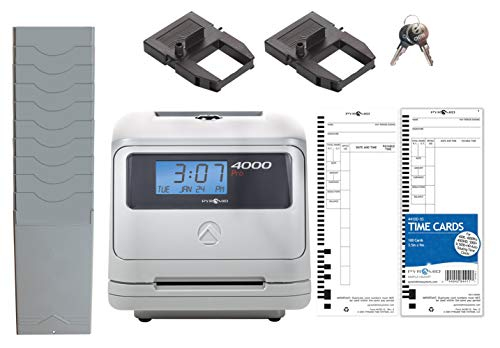 Pyramid Time Systems 4000PROK Auto Totaling Time Clock Bundle,125 Time Cards, 1 Extra Ribbon, 1 Time Card Rack, 2 Keys, Handles up to 50 Employees, Made in The USA
