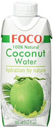FOCO Kokosnusswasser, exotisches Trendgetränk, erfrischender Durstlöscher, Sportgetränk, kalorienarm, 100 {3024bef4a71d12c498340ec8fac7fc093a4a9ad6b2b55b36f529c953fbbf06ee} vegan, 12 x 330 ml