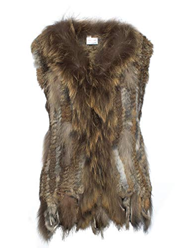 HEIZZI 100% piel de conejo chaleco con cuello de mapache de punto elegante suave