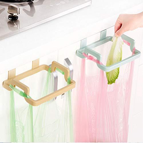 Kitchen Trash Bag Holder Towel Rack Garbage Bag Hanger Hanging Trash Garbage Hook(Pink, Pack of 1)