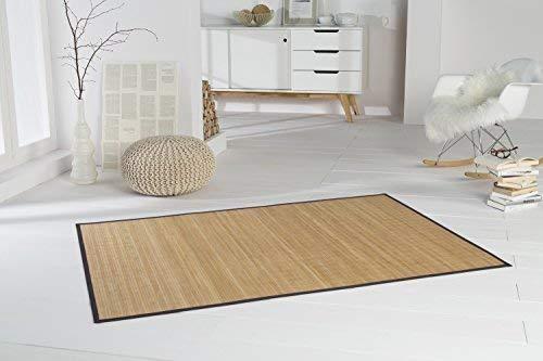 Bambusteppich HIGHQ 200x300cm, 11mm Stege, Filigrane Bordüre, massives Bambus   Bordürenteppich   Teppich   Bambusmatte   Wohnzimmer   Küche DE-Commerce®  nachhaltig und ökologisch