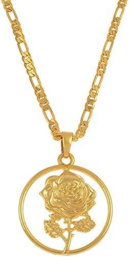 WSBDZYR Co.,ltd Collar de Moda Collar de Flor Rosa Collares Pendientes para Mujer Joyas con dijes de Madre Regalos de Boda Joyería de Color Dorado árabe Africano