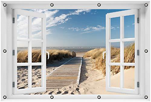 Wallario Garten-Poster Outdoor-Poster 80 x 120 cm mit Fenster-Illusion: Auf dem Holzweg zum Strand in Premiumqualität, für den Außeneinsatz geeignet