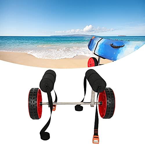 Carro Aluminio Kayak, Barco Canoa Carrier, Aluminio, Neumáticos Anti Aguijón, Almohadilla Búfer, Hebilla Primavera, Robusto, Fácil Montar, Carga 80kg, para Transporte Surf Tablas