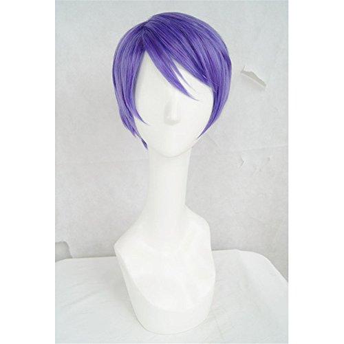 LanTing Cosplay Perücke Tokyo Ghoul Tsukiyama Shuu purple Perücke Corta Cosplay Party Fashion Anime Human Costume Full wigs Synthetic Haar Heat Resistant Fiber