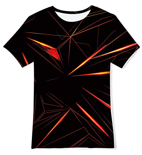 kids4ever Unisex 3D Grafik T-Shirt Boy Girl Lustiger Geometrischer Strahl Bedruckte T-Shirts Hemden Sommer Lässige Party Schule Tops für 10-12 Jahre