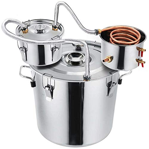 Slsy 8 Gallon Moonshine Still Water Alcohol Distiller, 30 Liters DIY Whiskey Still Stainless Steel Spirits Boiler with Copper Tube, Home Brew Wine Making Kits with Thumper Keg