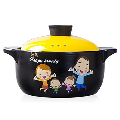 Cocottes Cocotte,ménage De Grande Capacité Marmite À Soupe,haute Température Cooker,avec Couvercle Pot,modèle De Bande Dessinée,Convient Pour 2-4 Personnes (Color : Yellow, Size : 4000ml)