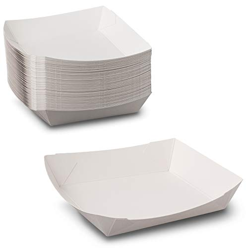 Shallow Small White Paper Food Tray SBS Paperboard with Grease-Resistant Barriers Microwavable - Size 4-1/4 in x 4-1/4 in x 1-1/8 in by MT Products ( 50 Pieces)