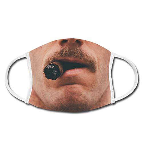 Spreadshirt Schnurrbart Mit Zigarre Lustig Oberlippenbart Schnauzer Mund-Nasen-Bedeckung, Weiß