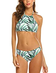 Bikini material: 85% Polyester, 15% Spandex; Very sretchy, durable and skin-friendly swimsuit beachwear, the high quality of the bikini will bring you wonderful feelings The high neck bikini top for women features adjustable halter tie, removable cup...