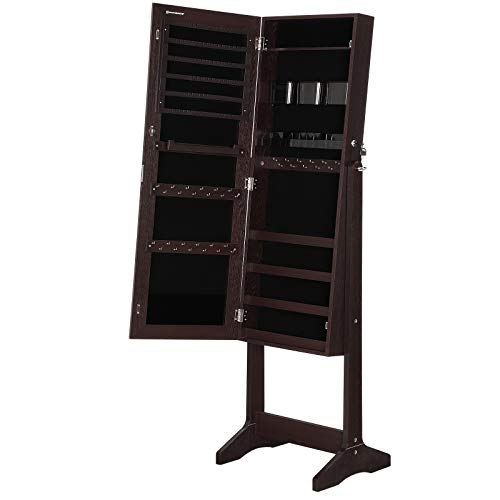 SONGMICS Jewelry Cabinet Armoire, for Women, Freestanding Lockable Storage Organizer Unit with 2 Plastic Cosmetic Storage, Full-Length Frameless Mirror,Brown UJJC002K01