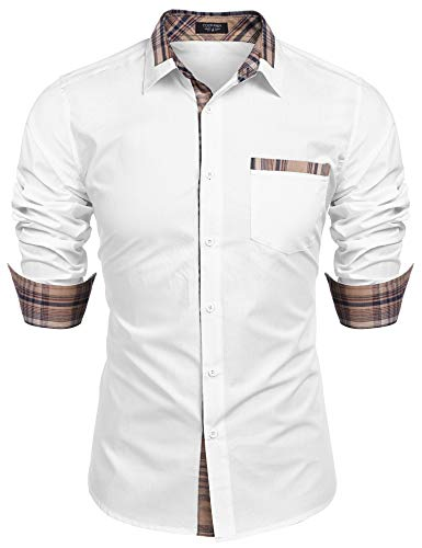 COOFANDY Men's Cotton Dress Shirt Long Sleeve Slim Fit Button Down Plaid Collar Shirt with Pocket White