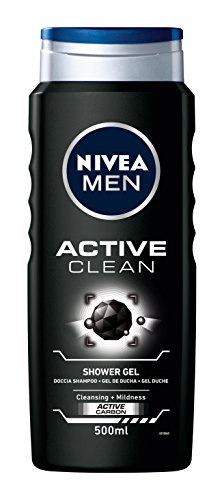 NIVEA MEN Gel de Ducha Active Clean - Paquete de 12 x 500 ml - Total: 6 l