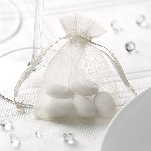 Premium Weddings Organzasäckchen Creme 20 Stück 10,0x7,5 cm - Organzabeutel Creme Gastgeschenk Hochzeit Kommunion Taufe