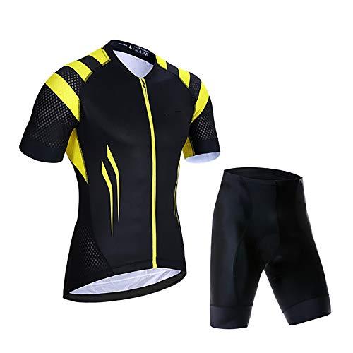 Trajes De Ropa De Ciclismo, Conjunto De Jersey De Ciclismo para Hombre, Camiseta De Bicicleta, Cremallera Completa Transpirable + Baberos De Ciclismo con Gel 9D (Color : Black B, Talla : Large)