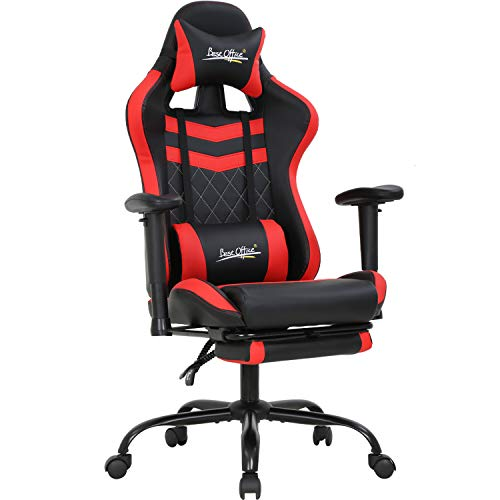 Pc gaming chair ergonomic racing office chair e-sports adjustable computer chair with headrest armrest footrest task rolling swivel ergonomic desk chair for back support(red)