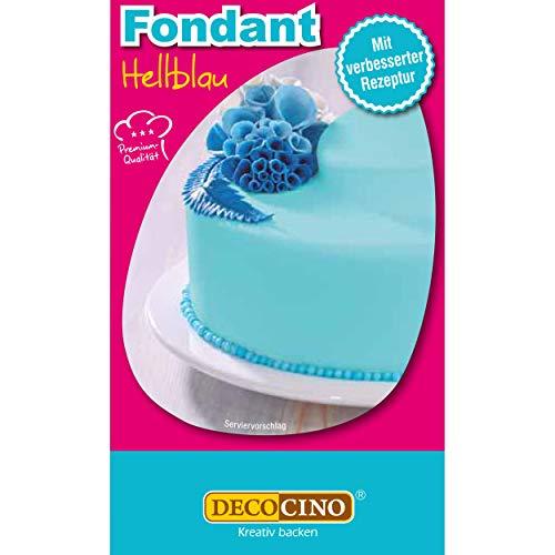 DECOCINO Fondant Hellblau – 250 g – ideal zum Verzieren von Kuchen, Torten, Cupcakes – Palmölfrei & vegan