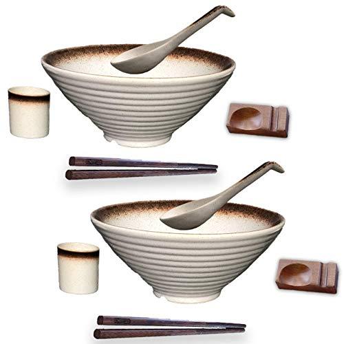 BETTER LIVIN 10 Pc Glazed Ceramic Ramen Bowl Set (60oz) with 2 Japanese Bowls and Spoons, 2 Wood Chopsticks, 2 Spoon Holders, 2 Asian Tea Cups-Microwave, Freezer & Dishwasher Safe for Noodles-White