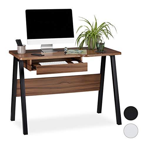 Relaxdays Schreibtisch Tastaturauszug, platzsparend & kompakt, große Arbeitsfläche, HBT: 77,5x110x58 cm, natur/schwarz