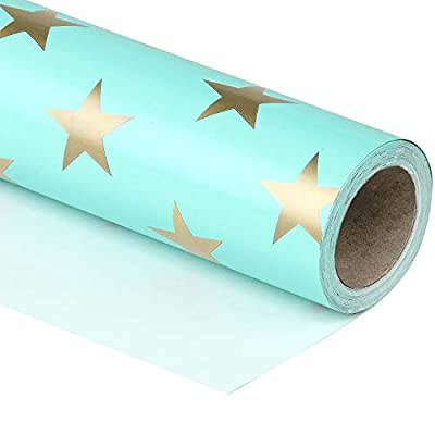 WRAPAHOLIC Gift Wrapping Paper Roll - Mint Color with Gold Print Star Design for Birthday, Wedding, Valentine's Day, Baby Shower Gift Wrap - 30 inch x 33 feet